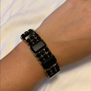 JCrew stretchy black and gold bracelet